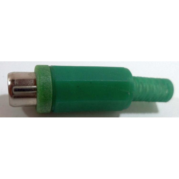 CINCH zásuvka kabelová zelená měkký plast