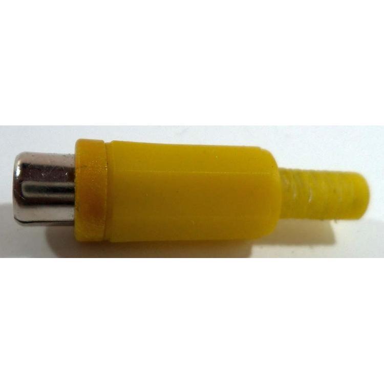 CINCH zásuvka kabelová žlutá měkký plast